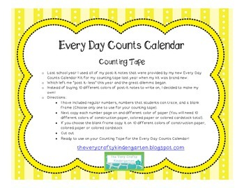 Every Day Counts Calendar Supplement- Counting Tape