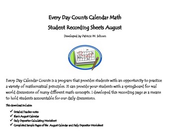 Every Day Counts Calendar Math 4th Grade August