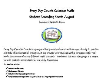 Every Day Counts Calendar Math 4th Grade August
