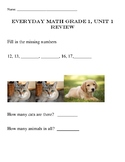 Every Day Math 4, Grade 1, Unit 1 Review