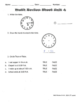 Every Day Math Review Sheet Unit 4 (most recent edition)
