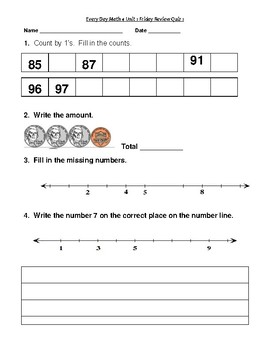 Every Day Math Version 4 Second Grade Unit 1 Review Quizes