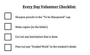 **FREEBIE** Every Day Volunteer Checklist