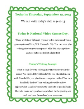 Every Day is a Holiday Writing Prompts - September 2013