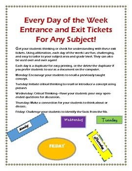 Every Day of the Week Entrance and Exit Slips
