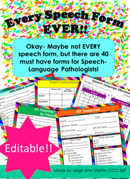 Every Form EVER for SLPs **EDITABLE** ~*Bright Colors*~
