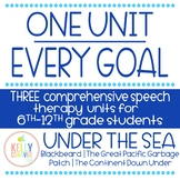 3 Middle/High School Every Goal Speech Therapy Units - Ocean Theme