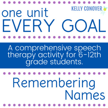 Every-Goal Speech Therapy Unit (Remembering Names)