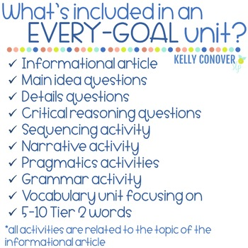Every Goal Speech Therapy Units  2017-18 GROWING BUNDLE Pre-Order