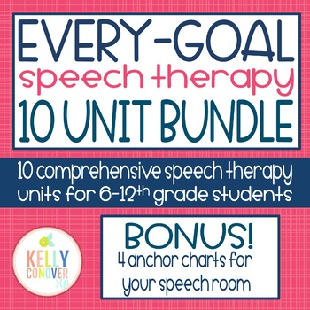 Every Goal Speech Therapy Units  2017-18 GROWING BUNDLE