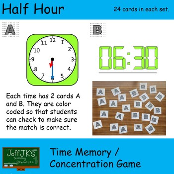 Every Half Hour Time Memory / Concentration Game