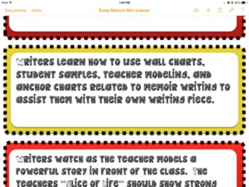 Every Mini-Lesson For Memoir  (Simply Print and Place on the board)