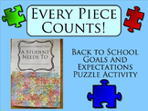 Every Piece Counts! Back to School Goals and Expectations Puzzle Activity