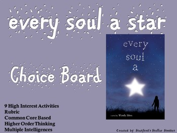 Every Soul A Star Choice Board Novel Study Activities Menu Book Project Rubric