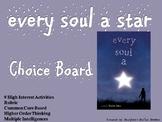 Every Soul A Star Choice Board Novel Study Activities Menu