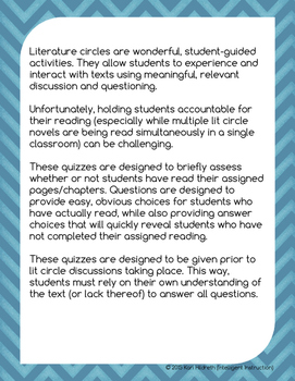 Every Soul a Star: Literature Circle Accountability Quizzes