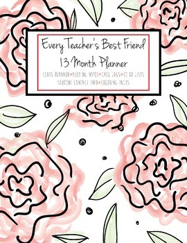 HALF OFF! 2017-18 Every Teacher's Best Friend 13 Mth Planner (Red Roses)