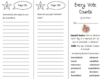 Every Vote Counts Trifold - Open Court 3rd Grade Unit 5 Lesson 2