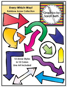 Every-Which-Way! Rainbow Arrow Clipart - Arrows Graphics