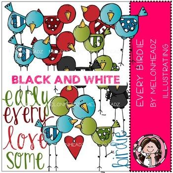 Every birdie clip art - BLACK AND WHITE- by Melonheadz
