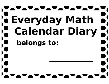 EveryDay Math Calendar Diary Cover pg.