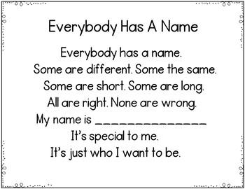 Everybody Has A Name (Pocket Chart Activity)