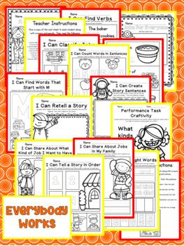 Everybody Works Kindergarten NO PREP Supplemental Printables