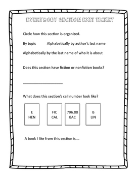 Everybody or Easy Section Exit Ticket