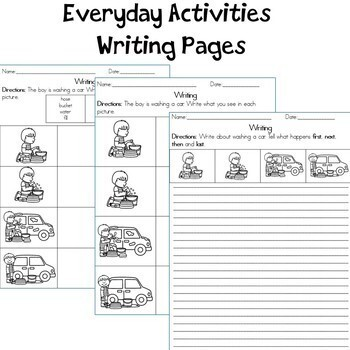 Everyday Activities Sequencing Cards and Writing Pages