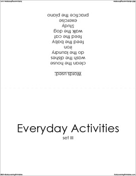 Everyday Activities (set III) Picture Flashcards