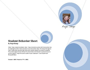Everyday Behavior Management Chart