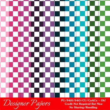 Everyday Colors Checks Patterns Digital Papers 2 A4 Size