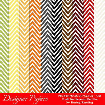 Everyday Colors Chevron Zig Zag Patterns Digital Papers 1 A4 Size
