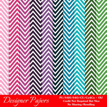 Everyday Colors Chevron Zig Zag Patterns Digital Papers 2 A4 Size