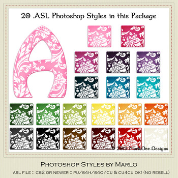 Everyday Colors Damask Pattern Photoshop Styles