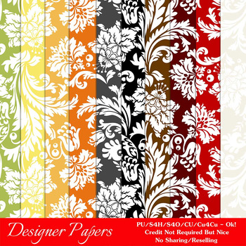 Everyday Colors Damask Patterns Digital Papers 1 A4 Size