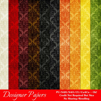 Everyday Colors Damask Patterns Digital Papers 3 A4 Size
