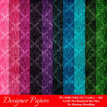 Everyday Colors Damask Patterns Digital Papers 4 A4 Size