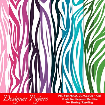 Everyday Colors Digital Papers 2 A4 Size Animal Patterns