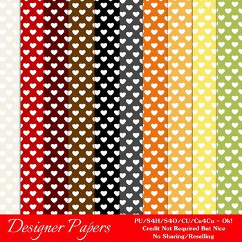 Everyday Colors Hearts Pattern Digital Backgrounds pkg 1