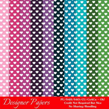 Everyday Colors Hearts Pattern Digital Backgrounds pkg 2