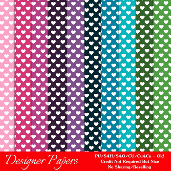 Everyday Colors Hearts Pattern Digital Backgrounds pkg 2