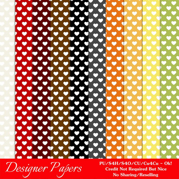 Everyday Colors Hearts Patterns Digital Papers 1 A4 Size