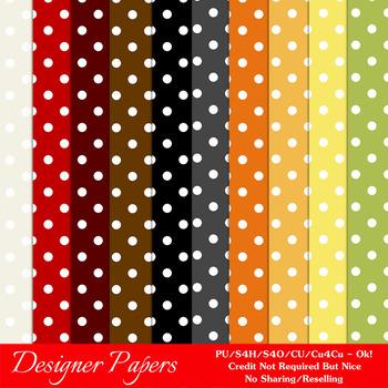 Everyday Colors Polka Dots Pattern Digital Backgrounds pkg 1
