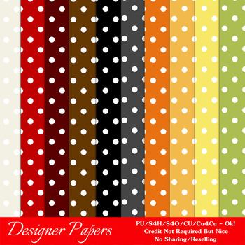 Everyday Colors Polka Dots Patterns Digital Papers 1 A4 Size