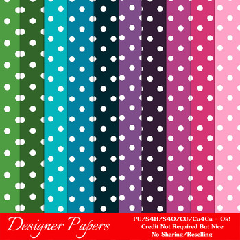 Everyday Colors Polka Dots Patterns Digital Papers 2 A4 Size