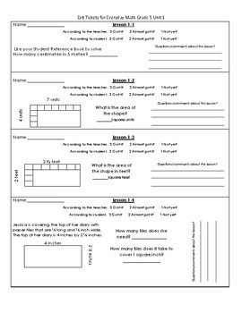 Everyday Day Math Unit 1 Exit Ticket Slips - 5th Grade