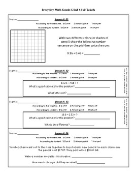 Everyday Day Math Grade 5 Unit 4 Exit Ticket Slips
