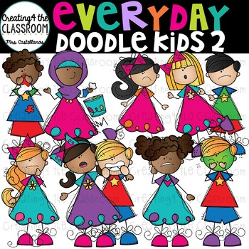 Everyday Doodle Kids 2 Clip Art {Kid Clip Art}
