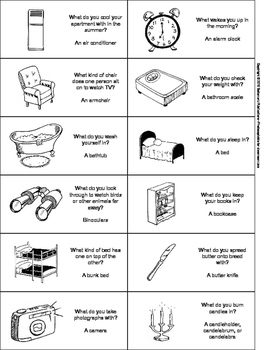 Everyday House and Home Vocabulary Card Game
